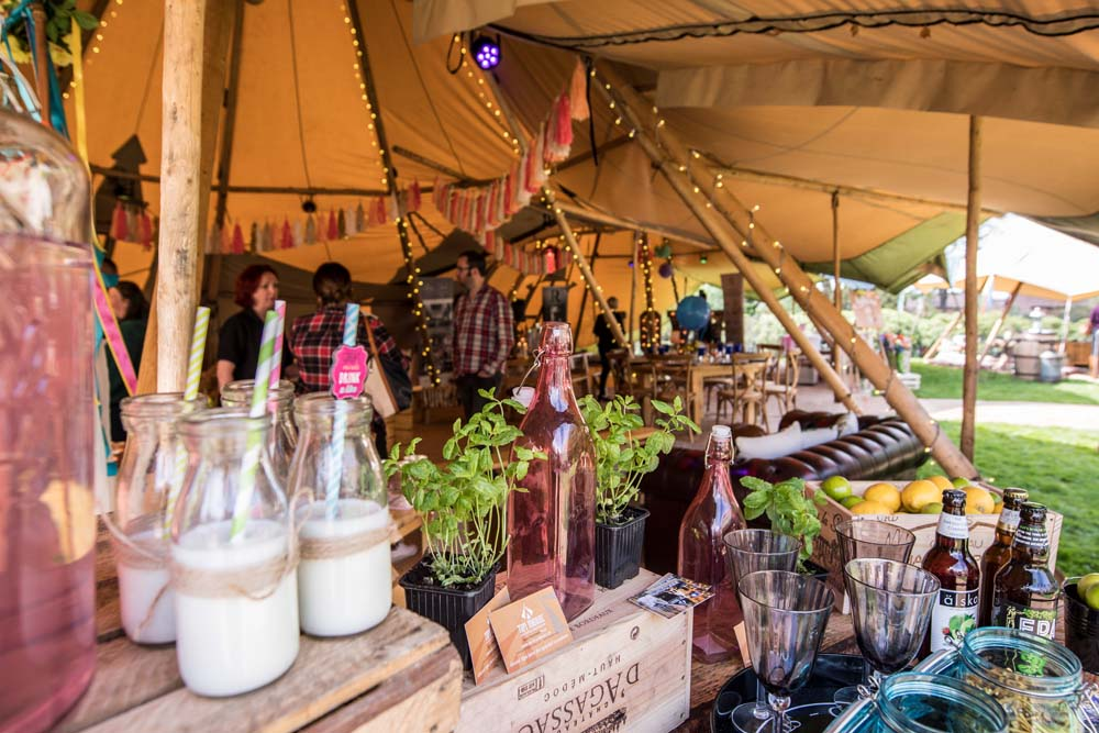 Inside Tipi With Drinks